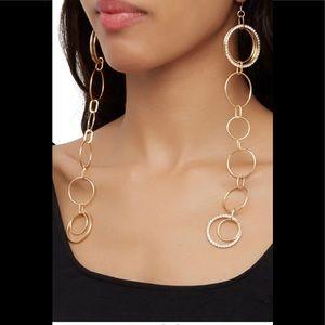 Long circle gold tone circle earrings NWT